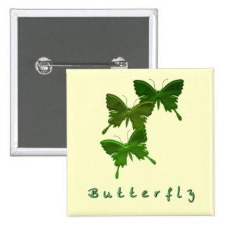 Pin verde del cuadrado del trío de la mariposa
