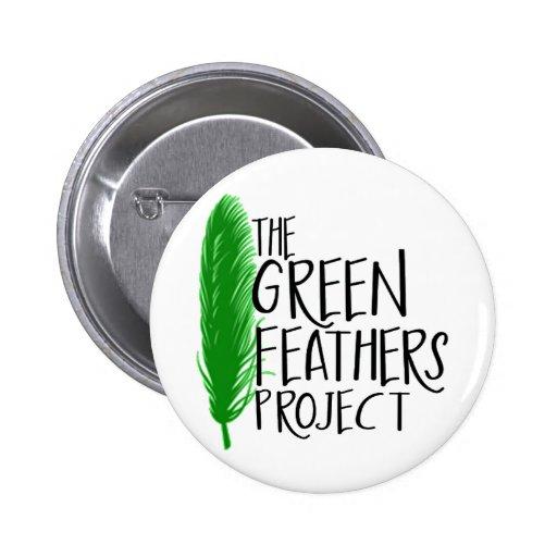 Pin verde del proyecto de las plumas