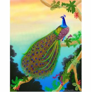 Pin verde exótico del pavo real escultura fotográfica