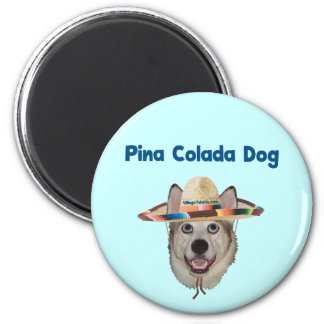 Pina Colada Beach Dog 2 Inch Round Magnet