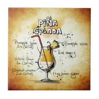 Pina Colada Cocktail Recipe Ceramic Tile