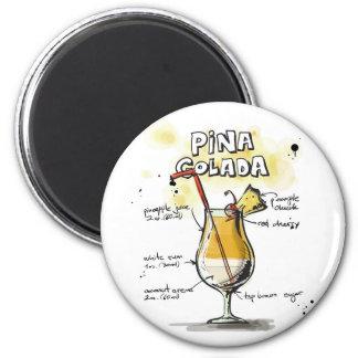 Pina Colada Drink Recipe Design 2 Inch Round Magnet