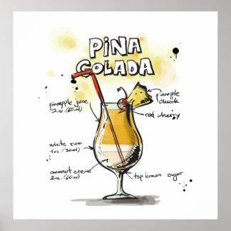 Pina Colada Drink Recipe Design Poster