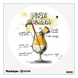 Pina Colada Drink Recipe Design Wall Sticker