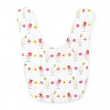 Beach Themed Pina Colada Drinks and Flowers Baby Bib