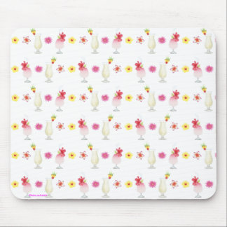 Pina Colada Drinks and Flowers Mouse Pad
