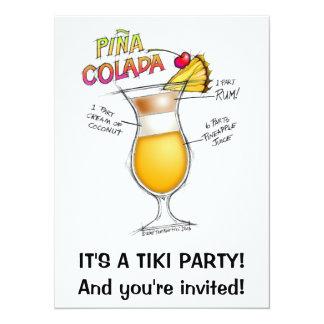 PINA COLADA RECIPE COCKTAIL ART 5.5X7.5 PAPER INVITATION CARD