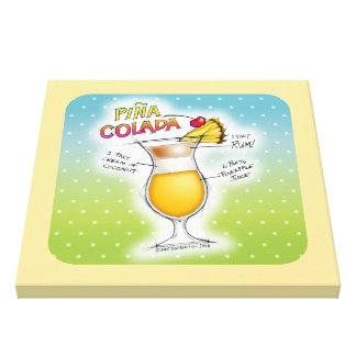 PINA COLADA RECIPE COCKTAIL ART CANVAS PRINT