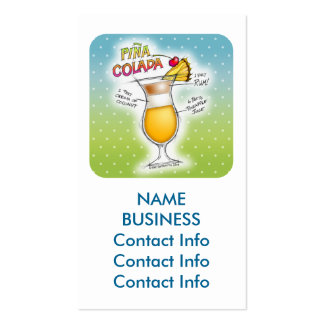 PINA COLADA RECIPE COCKTAIL ART Double-Sided STANDARD BUSINESS CARDS (Pack OF 100)