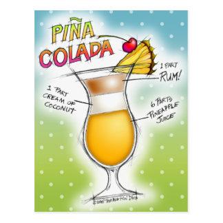 PINA COLADA RECIPE COCKTAIL ART POSTCARD
