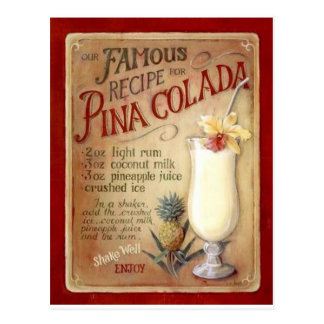 Pina colada recipe post card