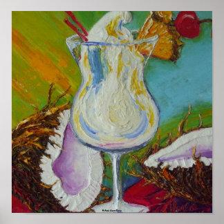 Pina Colada y poster de la bella arte del coco