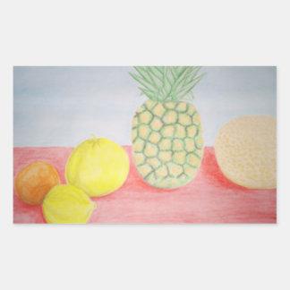 Piña con la pintura de las frutas rectangular pegatinas