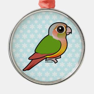Piña Conure Verde-cheeked de Birdorable Adorno Redondo Plateado