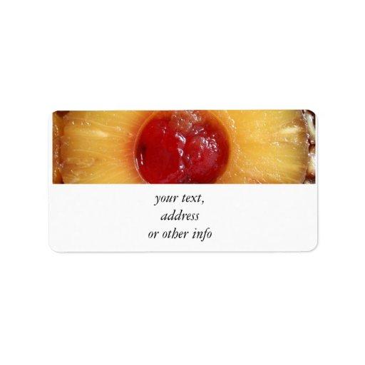 Piña de la torta al revés de la piña etiqueta de dirección