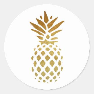 Piña de oro, fruta en oro pegatina redonda