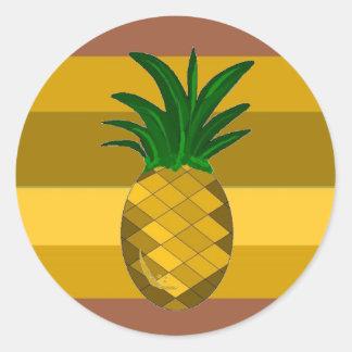 Piña de oro pegatina redonda