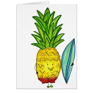 Piña del tipo de la persona que practica surf, tar tarjeta de felicitación