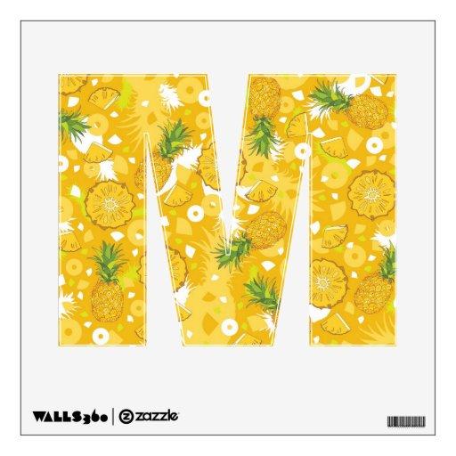 Piña - etiqueta amarilla tropical de la pared, let