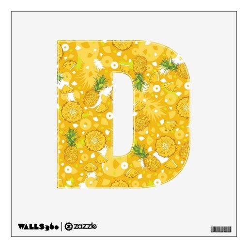 Piña - etiqueta amarilla tropical de la pared, let vinilo