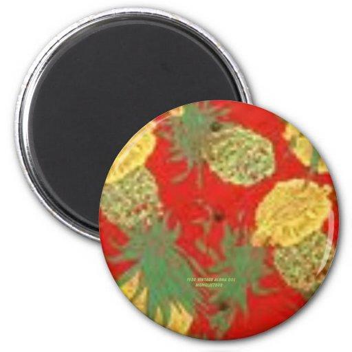 Piña Mainia (impresión de la hawaiana del vintage) Imán Redondo 5 Cm