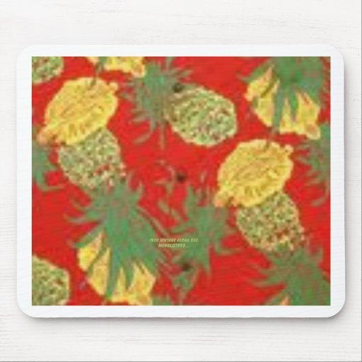Piña Mainia (impresión de la hawaiana del vintage) Tapetes De Raton