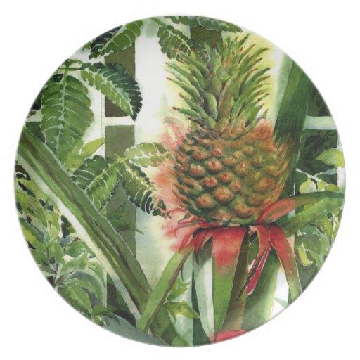Piña que crece en la selva - acuarela plato