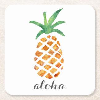 Piña tropical de la acuarela de la hawaiana posavasos personalizable cuadrado