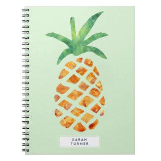 Piña tropical de la acuarela personalizada cuadernos