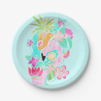 Piña tropical del flamenco de la acuarela del platos de papel