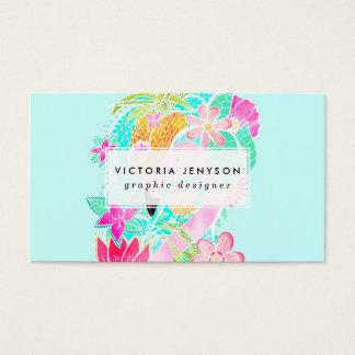 Piña tropical del flamenco de la acuarela del tarjetas de visita