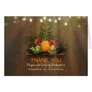 Pinapple Tropical Floral Beach Wedding Thank You Card