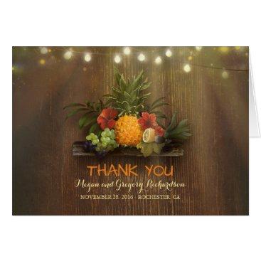 jinaiji Pinapple Tropical Floral Beach Wedding Thank You Card