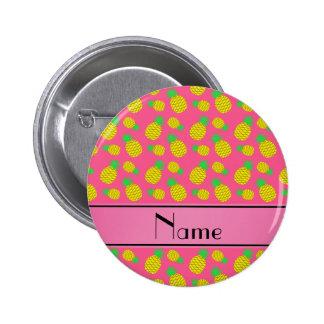 Piñas amarillas rosadas conocidas personalizadas pin redondo 5 cm