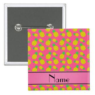 Piñas amarillas rosadas conocidas personalizadas pin cuadrada 5 cm