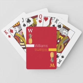 piñas conocidas/amarillas personalizadas en rojo barajas de cartas