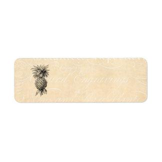 Piñas del ejemplo de la piña de los 1800s del etiqueta de remite