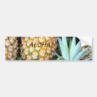 Piñas hawaianas del trullo, verdes y de oro pegatina para auto