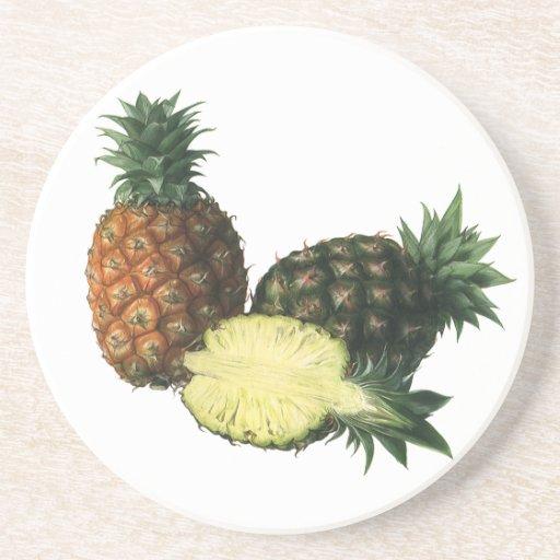 Piñas hawaianas del vintage, fruta del alimento posavasos diseño