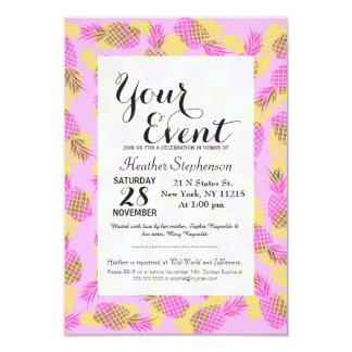 """Piñas hawaianas tropicales amarillas y rosadas de invitación 3.5"""" x 5"""""""