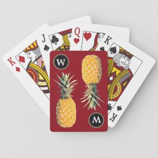 piñas iniciales/amarillas personalizadas barajas de cartas