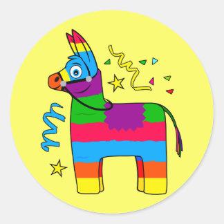 Piñata Cartoon Classic Round Sticker