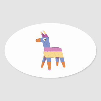 Pinata Donkey Oval Sticker