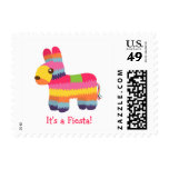 Pinata Mexican Fiesta Kids Birthday Party Stamp