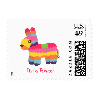 Pinata Mexican Fiesta Kids Birthday Party Stamp