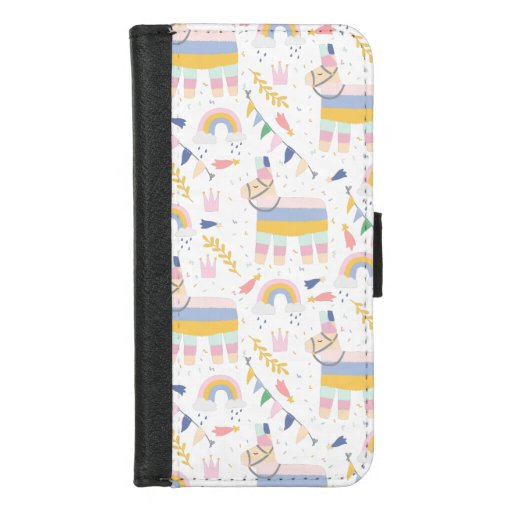 Pinata rainbow birthday holiday party pattern iPhone 8/7 wallet case