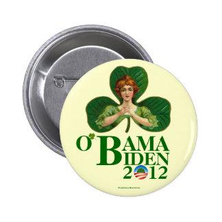 Pinba político irlandés del vintage O'BAMA BIDEN e Pin Redondo De 2 Pulgadas