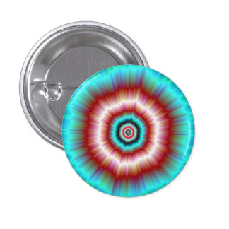 Pinback Button   Red and Blue Exploding Doughnut