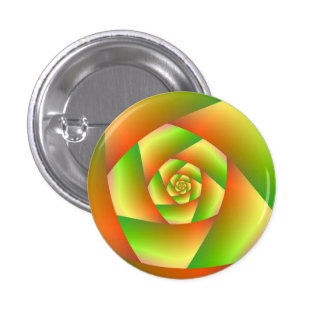 Pinback Button Spiral in Yellow Orange and Green