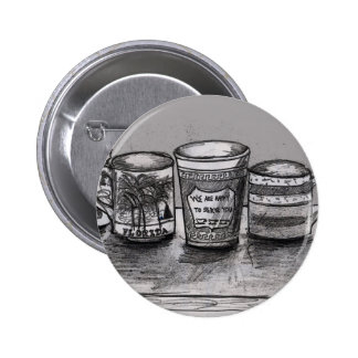 Pinback Button with Coffee Cup Art